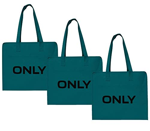 ONLY TASCHE 3er Pack Shopping Bag Umhänge Shopper Einkaufs Schulter Tasche Neu (3er Pack türkis)
