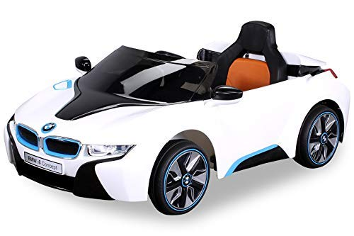 Actionbikes Motors NEU Kinder Elektroauto Lizenzierter Original BMW I8 mit 2 x 45 Watt Motor Elektro Kinderauto Kinderfahrzeug (Weiß)