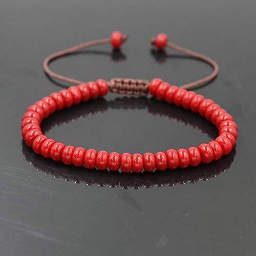 shangwang - Pulsera de moda para hombre ágata piedra para mujer, pulsera para parejas, joya roja