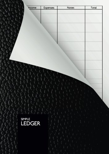 Simple Ledger: Cash Book | 110 pages | DIN A5 | Simple Income Expense Book | Black Leather Look | Durable Softcover