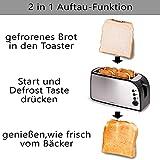 TZS First Austria – gebürsteter Edelstahl 4 Scheiben Toaster 1500W mit Krümelschublade Sandwich Langschlitz   abnehmbarer Brötchenaufsatz   wärmeisoliertes Gehäuse, stufenlose Temperatureinstellung - 3