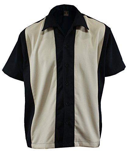 Bolos para hombre camiseta Worker Camisa Rockabilly Two Tone Gabardine Lounge Fifties Vintage Retro Double Panel, D600 negro y beige Large