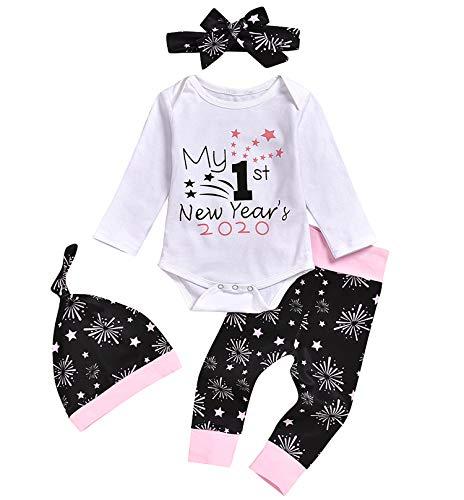 CIPOGL Säugling Baby Jungen Mädchen Kleidung Outfits My First Christmas Drucken Langarm Spielanzug + Gestreift Lange Hosen + Hüte + Stirnband 4pcs Weihnachten Babykleidung (H-Weiß, 0-6m)