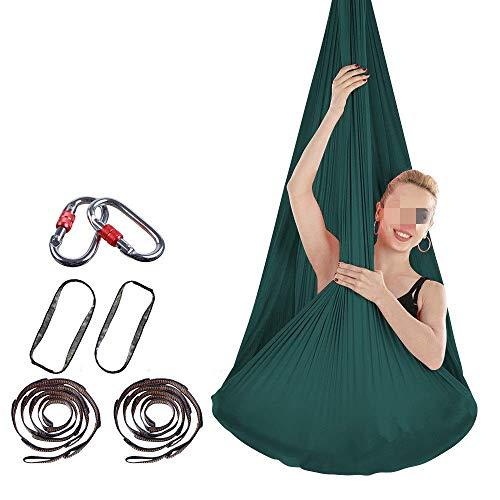 Yoga Indoor Anti-Gravity Hangmat Stretch Air Hangmat Zijdevrije knoop Gesp en touw Laag elastisch Hangende Bodybuilding Swing (kleur: donkergroen, afmeting: 400x280cm)