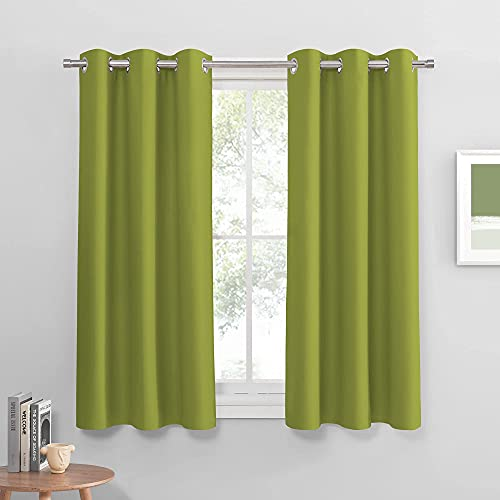 PONY DANCE Home Decoration Panels - Light Block Curtains Elegant Ring Top Room Darkening Window Coverings Energy Saving Curtains Draperies for Dining Room, Wide 42 by Long 54, Light Green, 2 PCs