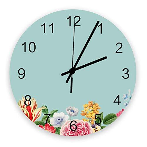 Reloj de Pared Redondo Decorativo Reloj de Pared de Flores y Hojas Frescas Pintado a Mano con números arábigos, Relojes de Pared de Cuarzo de Calidad con Pilas de 10 Pulgadas