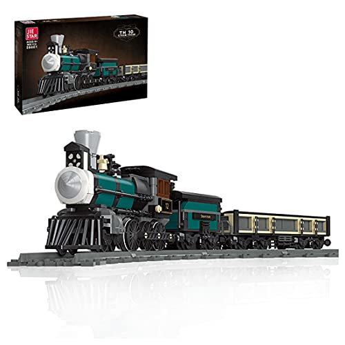 Dr.Bricks Technic Retro Locomotora de vapor Tren de carga con modelo de construcción de carril, tren para niños compatible con LEGO City Train - 560 piezas