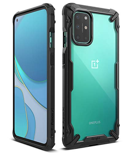 Ringke Fusion-X Kompatibel mit OnePlus 8T Hülle Handyhülle Durchsichtig Rückseite mit Handyanhänger Loch im Rand für 8T / 8T Plus 5G - Schwarz