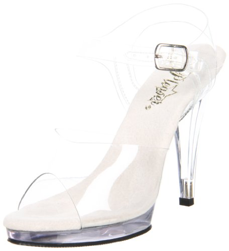 Pleaser Fla408, Damen Sandalen, Transparent (clear), 44/45 EU (12 UK)