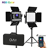 GVM RGB LED Video Light, Photography Lighting with APP Control, Video Lighting Kit for YouTube Studio, 2 Packs Led Panel Light, 3200K-5600K, 8 Kinds of The Scene Lights, CRI 97
