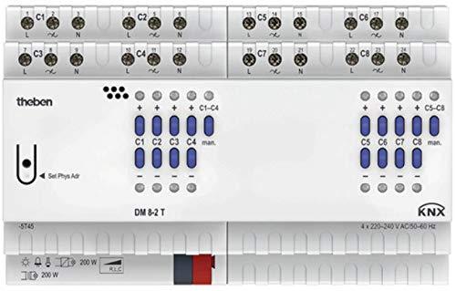 Theben 4940285 DM 8-2 T KNX 8-fach Universal-Dimmaktor FIX2 mit Dimmbereich 0-100%, Vorschaltgerät