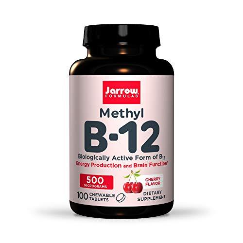 Jarrow Formulas Methyl B-12, 500Mcg, Cereza, 100 Cápsulas