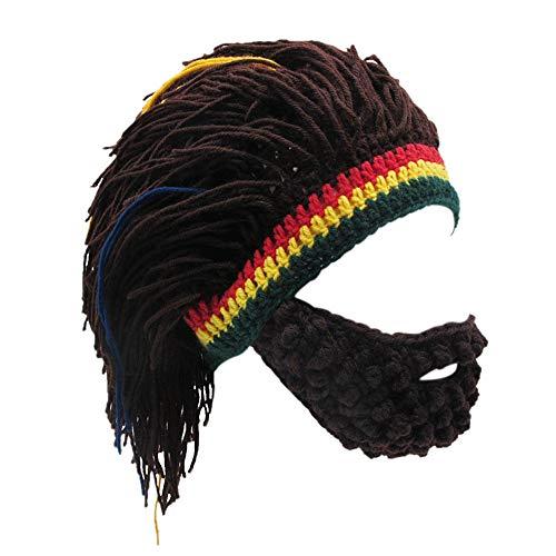 Xinqiao Herren Stricken Bart Hüte Reggae Haar Stil Rasta Mütze Lustig Kappen (Kaffee)