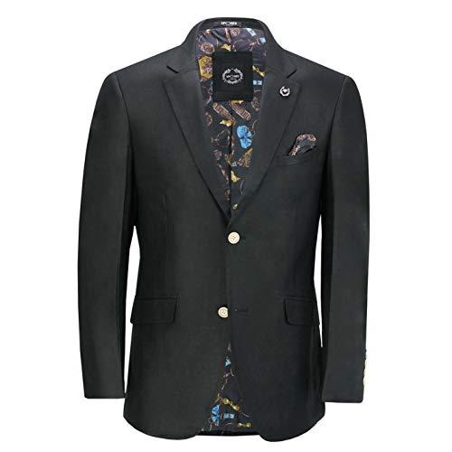 Xposed - Chaleco de lino para hombre, mezcla de algodón, estilo retro, vintage Negro Blazer-jet Negro 62 EU