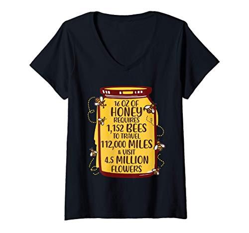Damen Honigglas Lustiger Imker Honig Bienenpollen T-Shirt mit V-Ausschnitt