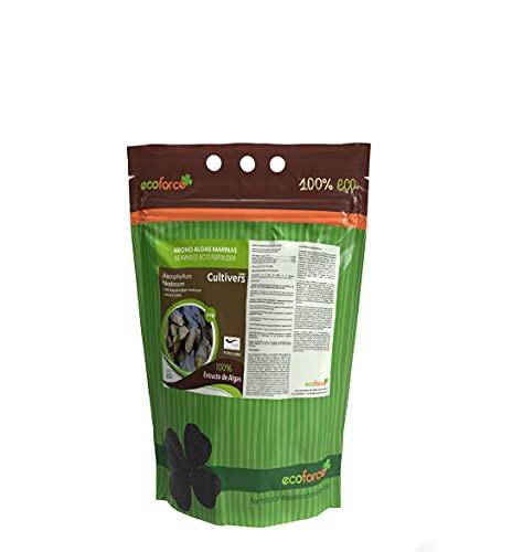 CULTIVERS Force-Mar Eco 1 Kg. Abono Orgánico Ecológico 100% Algas Marinas polvo soluble. Extracto de algas 100%. Fertilizante Bioactivador a base de extractos de Ascophyllum nodosum.