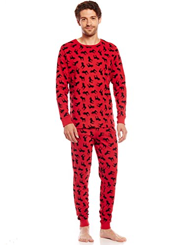 Leveret Mens Pajamas Christmas 2 Piece Pjs Set 100% Cotton Sleep Pants (Moose, Large)