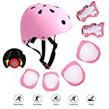 Kids Adjustable Bike Helmet for 3-8 Years 7 in 1 Sports Protective Gear Set Knee Elbow Wrist Pads Boys Girls Toddler Helmet with Cycling Skateboard Rollerblading Scooter (Pink)