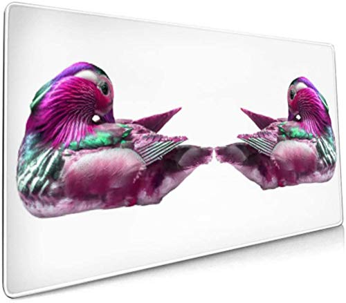 Long Mousepad (35.5x15.8in) Mandarin Duck Isolated On White Desk Pad Keyboard Mat, Non-Slip Base, Water-Resistant, for Work & Gaming, Office & Home