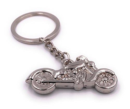 H-Customs Chopper Motorrad Silber 1 Schlüsselanhänger Anhänger