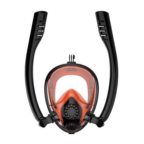 MSHENUED Máscara de Snorkel de Cara Completa, el último Sistema Dry Top de máscara de Buceo y Juego de Snorkel, con Doble Sistema de respiración Libre, antivaho, antifugas, máscara de Buceo