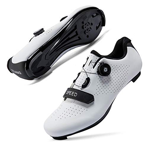 Mens or Womens Road Bike Cycling Shoes Peloton Bike Shoes Compatible SPD Riding Shoe Indoor/Outdoor Size Men's 7.5/Women's 9.5 White