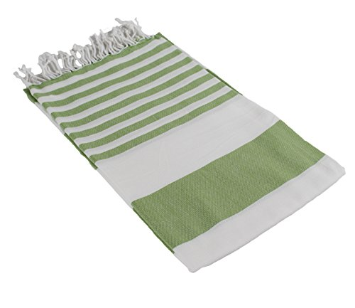 InfuseZen Extra Large Turkish Bath Towel, White with Colorful Stripes, Big Peshtemal Towel, Thin, Lightweight & Absorbant, Oversized Fouta Bath Sheet, Beach Towel or Pool Towel (Green)