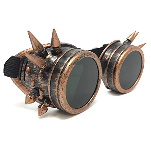 Steampunk Aviator Pilot motorcycle goggles Victorian vintage copper spiked welding Glasses for women men