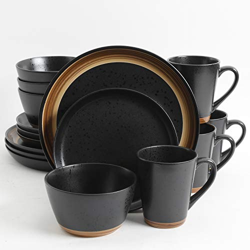 Gibson Tosca Woodlands 16 pc Black Dinnerware Set, with with brown woodlook, trim stoneware