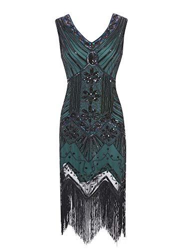 kiss me 1920er Jahre Kleider für Frauen Pailletten Gatsby Kleider Perlen Fransen 20er Jahre Kostüm ärmelloses Kleid für Abschlussball Cocktail Party Gr. Medium, grün