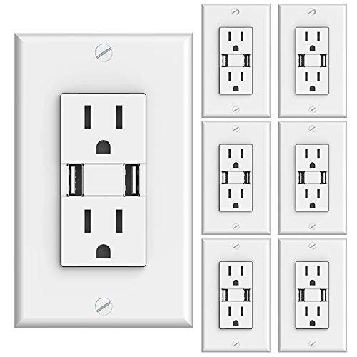 Sunco Lighting 6 Pack Wall Mount Charger USB Outlet, 15A Tamper Resistant Receptacle, 125VAC, 3.1AMP 5VDC Charging Capability, Duplex Receptacle, White - UL Listed