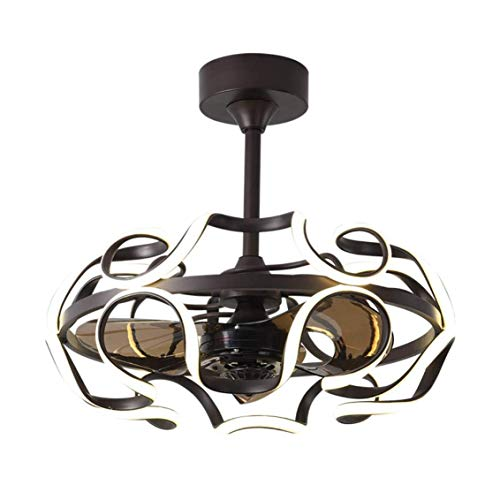 DYXYH Ventilador de techo con música LED de 36 W con luz y control remoto, moderno ventilador de araña con altavoz Bluetooth, ventilador reversible silencioso para interiores con aspas retráctiles par