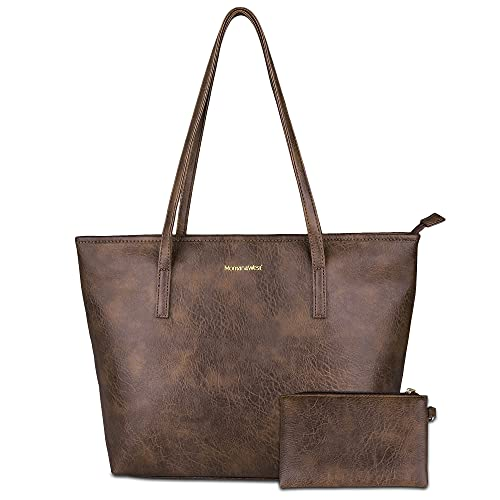 Montana West Large Leather Tote Bags for Women Top Handle Shoulder Bag Satchel Hobo Purses and Handbags (EDC Brown)