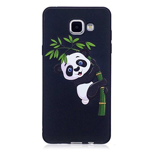 ISAKEN Compatibile con Samsung Galaxy A3 2016 Custodia (No Strap) - Ultra Sottile Morbido TPU Cover Protezione Posteriore Case Antiurto Nero Bumper Soft Sollievo TPU Backcover, Panda BAMB¨´