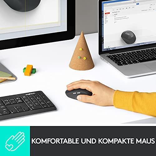 Logitech M590 Silent Kabellose Maus, Bluetooth und 2.4 GHz Verbindung via Unifying USB-Empfänger, 1000 DPI Optischer Sensor, 2-Jahre Akkulaufzeit, PC/Mac – Graphite/Schwarz - 4