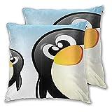 LONSANT Fundas de Cojines 45x45cm,Antártida Animal Divertido Dibujos Animados Pingüino Fantástica Decoración,decoración Cuadrado Fundas de Almohada Funda de cojín para sofá Dormitorio,Pack de 2