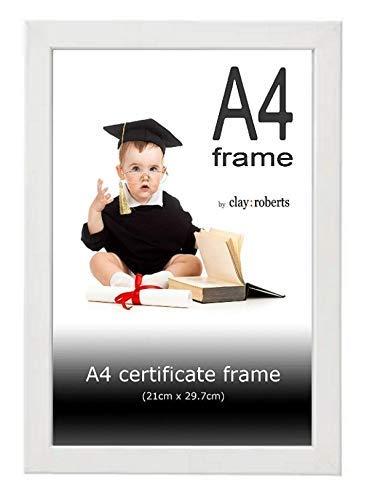 Clay Roberts Bilderrahmen 21 x 30 cm DIN A4, Weiß, Fotorahmen für Zertifikate, Dokumente und Fotos