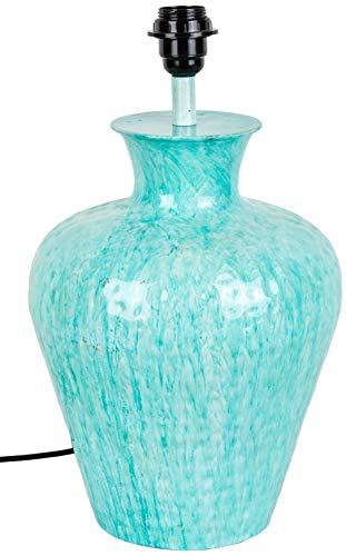 Better & Best 2313121 Lámpara de sobremesa en forma de ánfora en metal esmaltado azul turquesa