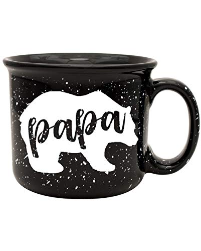 Papa Bear Black Camper Style Coffee Mug - Fun Coffee Mug for Him - Perfect Gift for Him: Dad, Husband, Grandpa, Grandfather, Father's Day, Christmas, Birthday