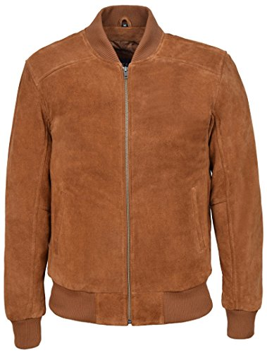 70's Classic Bomber Men's Tan Plain Suede Wax Biker Style Italian Fitted Real Leather Jacket 275-P (M)