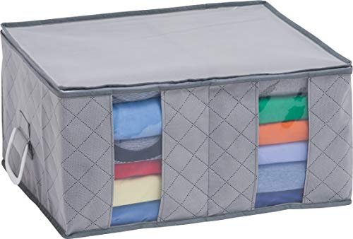 1Storage Clothing Organizer Bag, Breathable Material, 2Cells, Carry Handles, Grey 179-01A