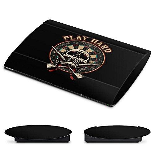 DeinDesign Skin kompatibel mit Sony Playstation 3 Superslim CECH-4000 Folie Sticker Totenkopf Dart Schädel