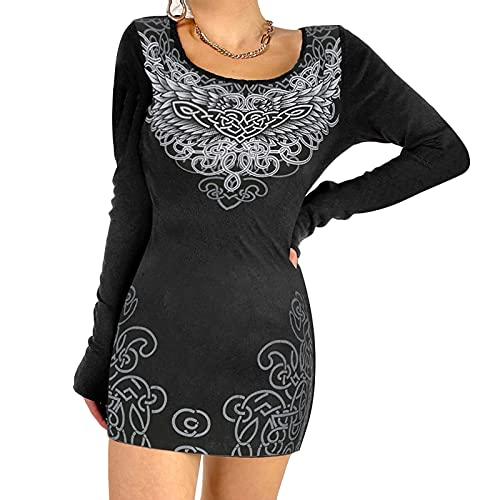 Vestido de mujer Y2K sexy de manga larga con estampado gráfico mini vestido E-Girl Bodycon vestido de fiesta floral, Ala Negra, L