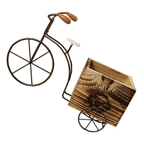 Angoily Maceta de Bicicleta de Madera Maceta de Alambre de Metal Maceta de Hierro Forjado para Plantas Flores Jardín Patio Oficina Balcón Decoración Exterior E Interior (Color de Madera