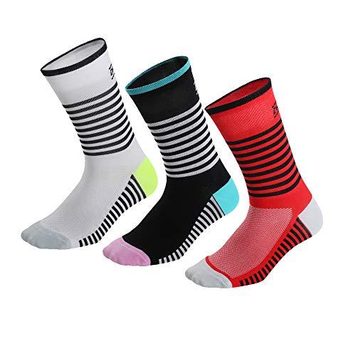 Cushion Crew Socks, No Blister, calzini sportivi traspiranti per ciclismo Running Running Trekking Gym Tracing | Calzini imbottiti a compressione imbottita ad alta performance, misura 39-45