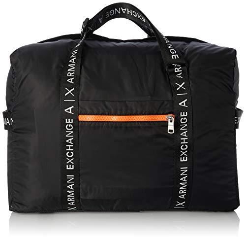 Armani Exchange A|X Herren Logo Tape Nylon Duffle Bag Seesack, Nero-Schwarz, Einheitsgröße