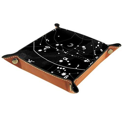 Bandeja de Cuero - Organizador - Atlas astronómico del cielo nocturno - Práctica Caja de Almacenamiento para Carteras,Relojes,llaves,Monedas,Teléfonos Celulares y Equipos de Oficina