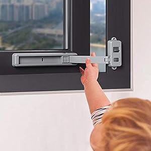 EUDEMON Cerradura de ventana segura para niños, tope de ventana, fácil de instalar, con adhesivo 3M VHB, no se requieren tornillos ni perforaciones