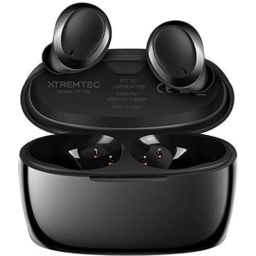XTREMTEC True Wireless Earbuds, Bluetooth Earbuds Noise Cancelling Bluetooth Headphones for iPhone/Android Small Earbuds with Mic Waterproof Cordless in-Ear Earphones Deep Bass Sound Headsets (Black)