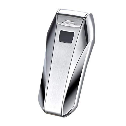 Encendedor eléctrico de doble arco USB recargable, mechero electrónico doble arco de plasma resistente al viento, sensor táctil de control para cigarrillo vela de cigarrillo (Plata)
